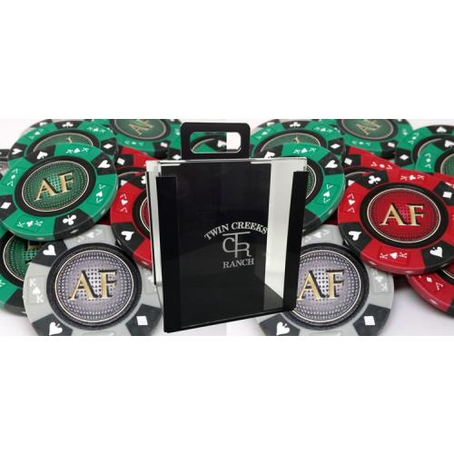 Custom Acrylic Case Poker Sets With 14 Gram Ace King Suited Style Clay Chips