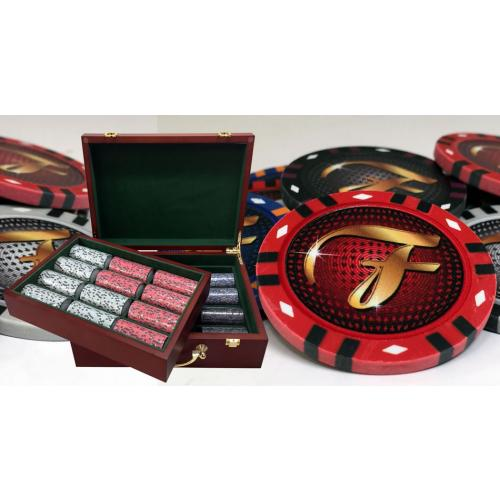 Custom Wood Case Poker Sets With 13 Gram Infinity Style Clay Chips