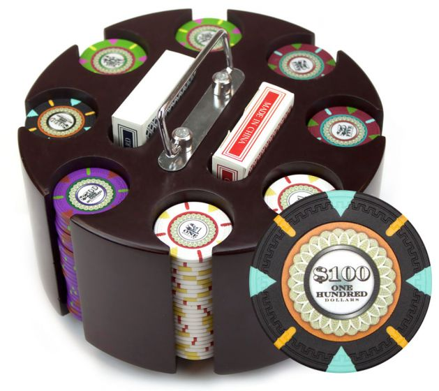 The Mint 13.5 Gram Clay Poker Chips in Wood Carousel - 200 Ct.