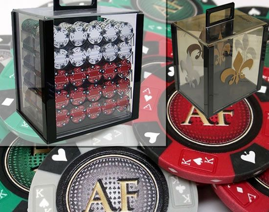 Custom Printed Acrylic Poker Chip Set with 14 Gram Clay Ace King & Suits Poker Chips - 1000 Chips