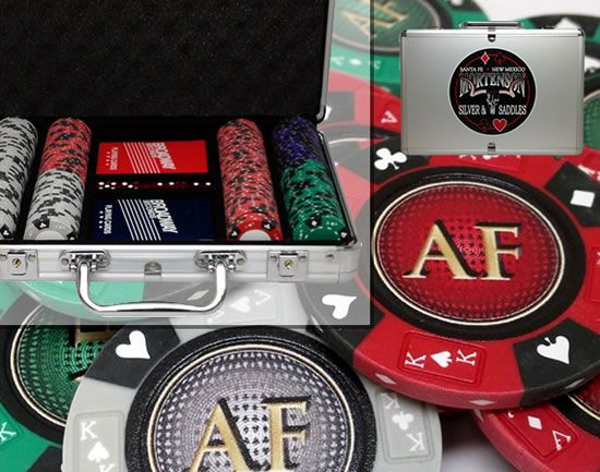 Custom Printed Aluminum Poker Chip Set with 14 Gram Clay Ace King & Suits Poker Chips - 200 Chips