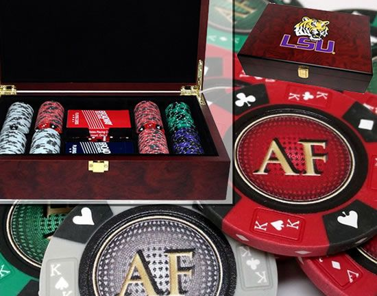 Custom Printed Mahogany Wood Poker Chip Set with 14 Gram Clay Ace King & Suits Poker Chips - 200 Chips