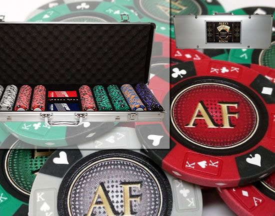 Custom Printed Aluminum Poker Chip Set with 14 Gram Clay Ace King & Suits Poker Chips - 500 Chips