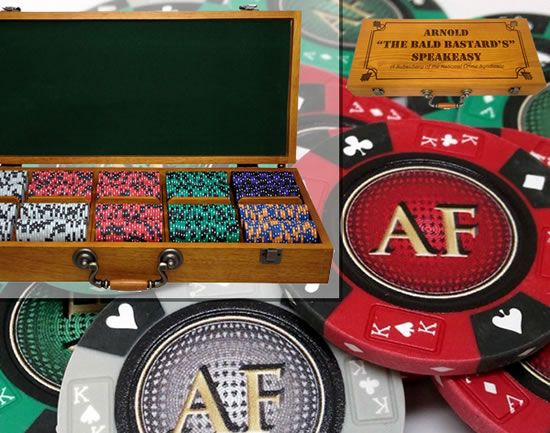 Custom Printed Oak Wood Poker Chip Set with 14 Gram Clay Ace King & Suits Poker Chips - 500 Chips