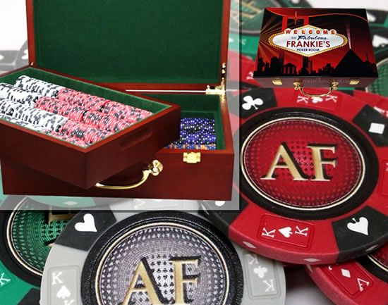 Custom Printed Mahogany Wood Poker Chip Set with 14 Gram Clay Ace King & Suits Poker Chips - 500 Chips