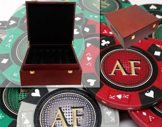 Custom Printed Mahogany Wood Poker Chip Set with 14 Gram Clay Ace King & Suits Poker Chips - 750 Chips