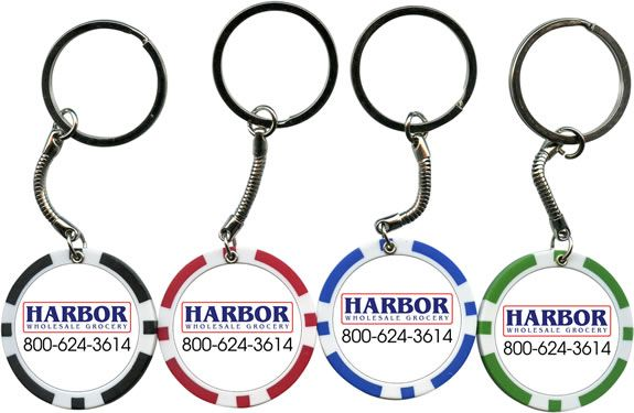 Custom Printed Poker Chip Keychains