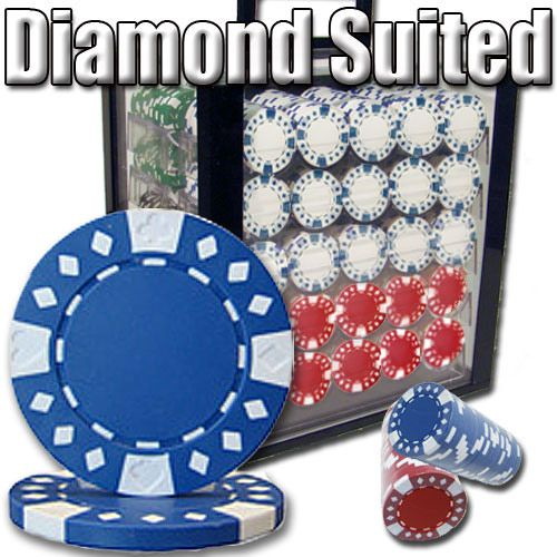 Diamond Suited 12.5 Gram ABS Poker Chips in Acrylic Carrier - 1000 Ct.
