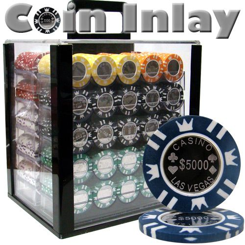 Coin Inlay 15 Gram Clay Poker Chips in Acrylic Carrier - 1000 Ct.