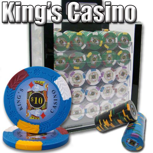King's Casino 14 Gram Clay Poker Chips in Acrylic Carrier - 1000 Ct.