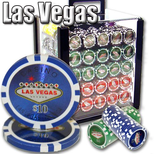 Las Vegas 14 Gram Clay Poker Chips in Acrylic Carrier - 1000 Ct.