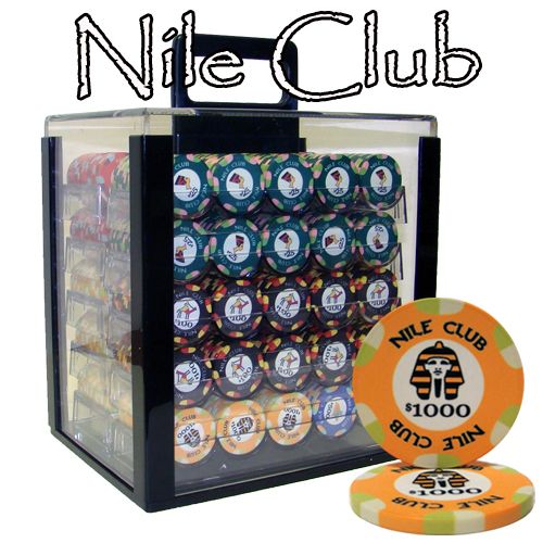 Nile Club 10 Gram Ceramic Poker Chips in Acrylic Carrier - 1000 Ct.