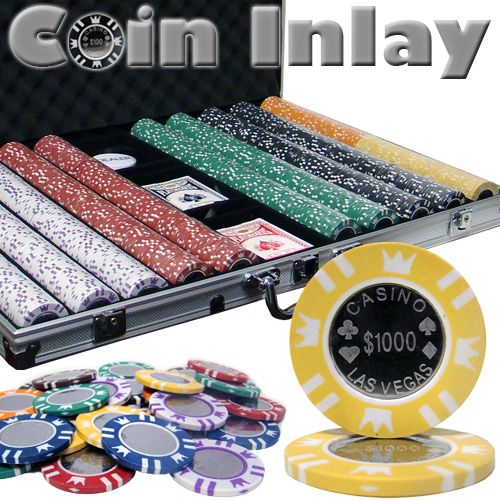 Coin Inlay 15 Gram Clay Poker Chips in Standard Aluminum Case - 1000 Ct.
