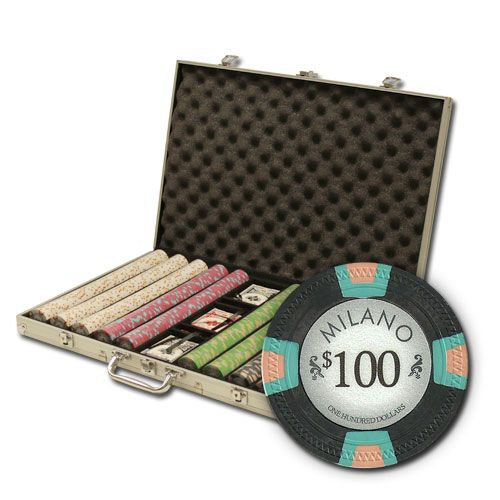 Milano 10 Gram Clay Poker Chips in Standard Aluminum Case - 1000 Ct.