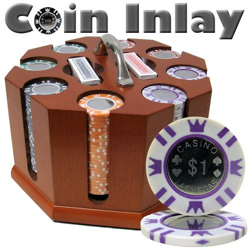 Coin Inlay 15 Gram Clay Poker Chips in Wood Carousel - 200 Ct.