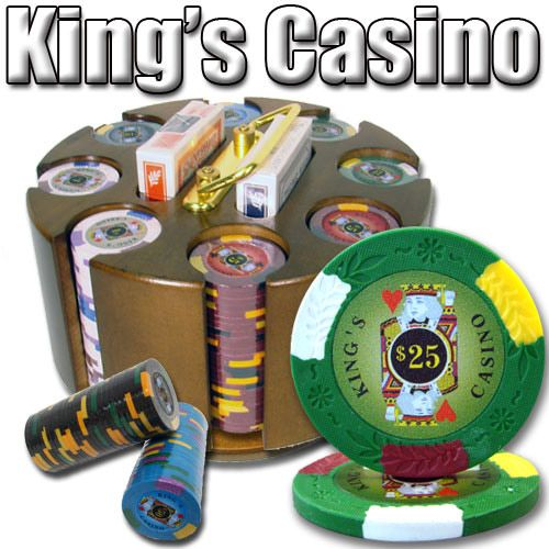 King's Casino 14 Gram Clay Poker Chips in Wood Carousel - 200 Ct.