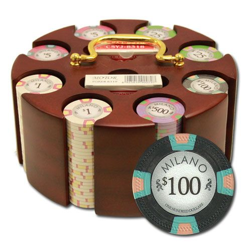 Milano 10 Gram Clay Poker Chips in Wood Carousel - 200 Ct.