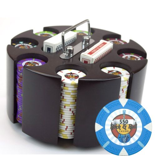Rock & Roll 13.5 Gram Clay Poker Chips in Wood Carousel - 200 Ct.