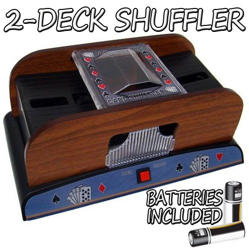 2 Deck Wooden Deluxe Card Shuffler with Batteries