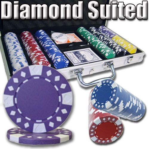 Diamond Suited 12.5 Gram ABS Poker Chips in Standard Aluminum Case - 300 Ct.