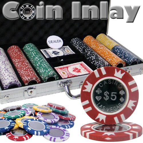 Coin Inlay 15 Gram Clay Poker Chips in Standard Aluminum Case - 300 Ct.