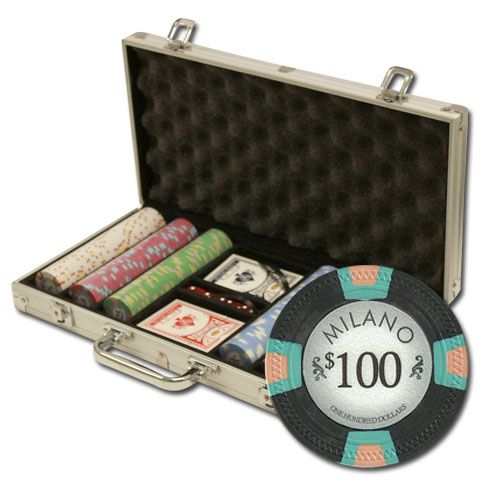 Milano 10 Gram Clay Poker Chips in Standard Aluminum Case - 300 Ct.