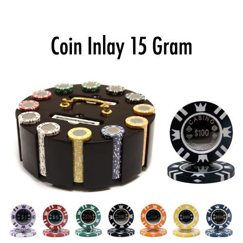 Coin Inlay 15 Gram Clay Poker Chips in Wood Carousel - 300 Ct.