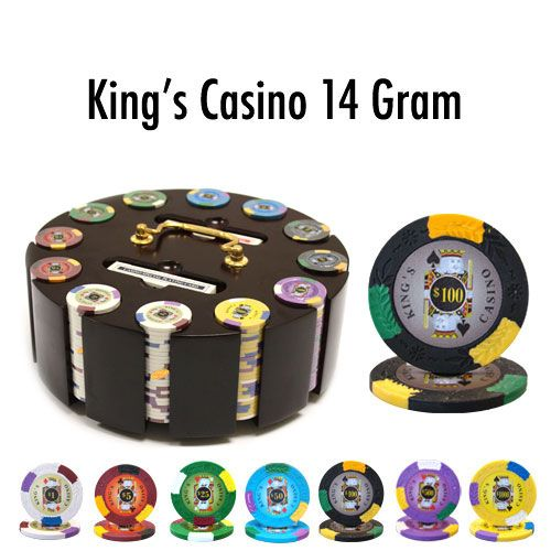King's Casino 14 Gram Clay Poker Chips in Wood Carousel - 300 Ct.
