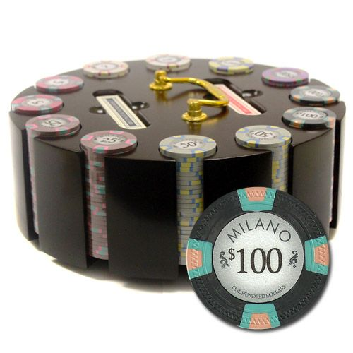 Milano 10 Gram Clay Poker Chips in Wood Carousel - 300 Ct.