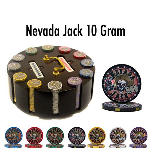 Nevada Jacks Skull 10 Gram Ceramic Poker Chips in Wood Carousel - 300 Ct.