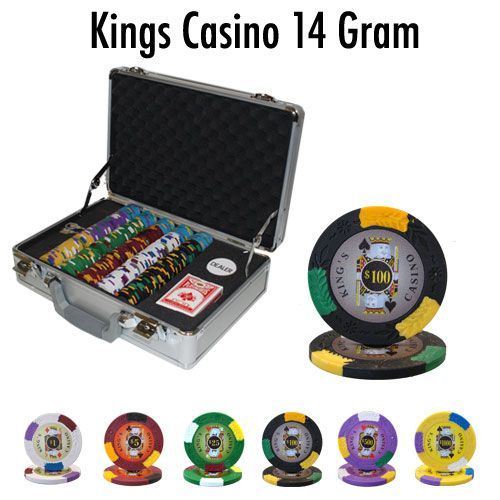 King's Casino 14 Gram Clay Poker Chips in Deluxe Aluminum Case - 300 Ct.