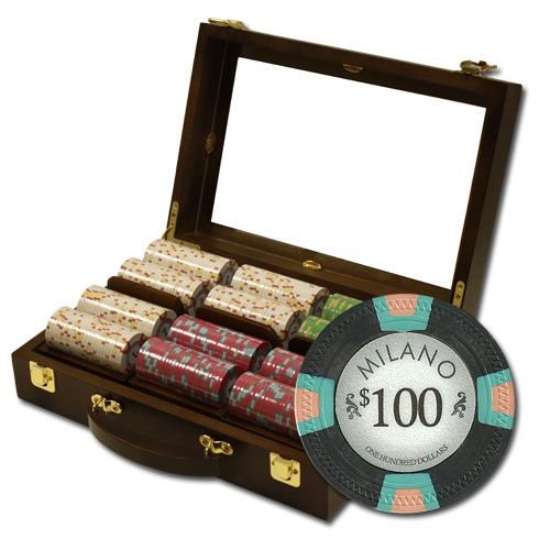 Milano 10 Gram Clay Poker Chips in Wood Walnut Case - 300 Ct.