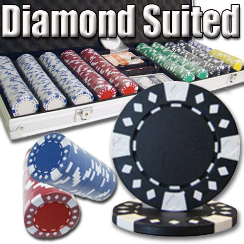 Diamond Suited 12.5 Gram ABS Poker Chips in Standard Aluminum Case - 500 Ct.