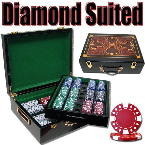 Diamond Suited 12.5 Gram ABS Poker Chips in Wood Hi Gloss Case - 500 Ct.