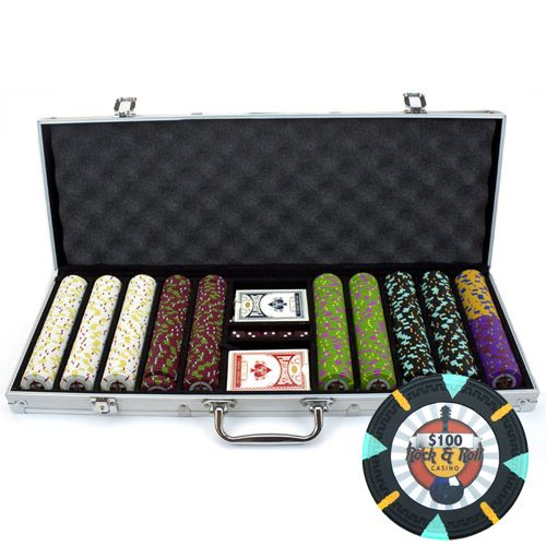 Rock & Roll 13.5 Gram Clay Poker Chips in Standard Aluminum Case - 500 Ct.