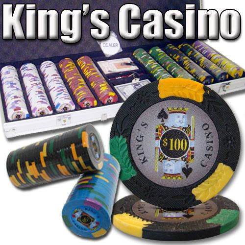 King's Casino 14 Gram Clay Poker Chips in Standard Aluminum Case - 500 Ct.