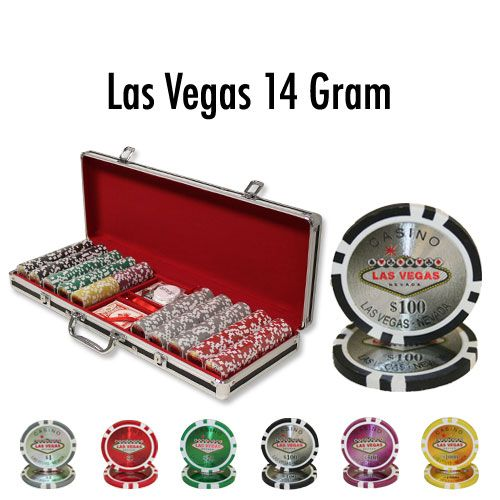 Las Vegas 14 Gram Clay Poker Chips in Black Aluminum Case - 500 Ct.