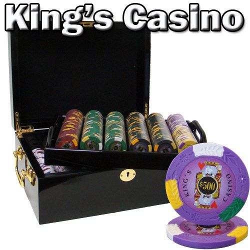 King's Casino 14 Gram Clay Poker Chips in Wood Black Mahogany Case - 500 Ct.
