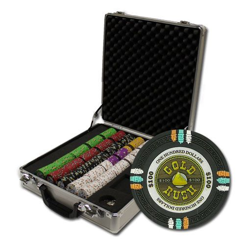 Gold Rush 13.5 Gram Clay Poker Chips in Deluxe Aluminum Case - 500 Ct.