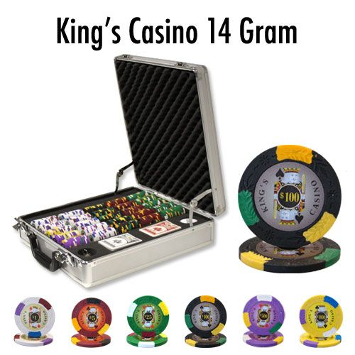 King's Casino 14 Gram Clay Poker Chips in Deluxe Aluminum Case - 500 Ct.