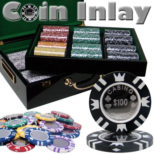 Coin Inlay 15 Gram Clay Poker Chips in Wood Hi Gloss Case - 500 Ct.