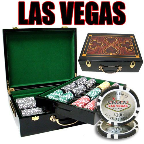 Las Vegas 14 Gram Clay Poker Chips in Wood Hi Gloss Case - 500 Ct.