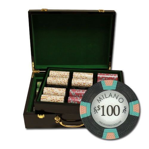 Milano 10 Gram Clay Poker Chips in Wood Hi Gloss Case - 500 Ct.