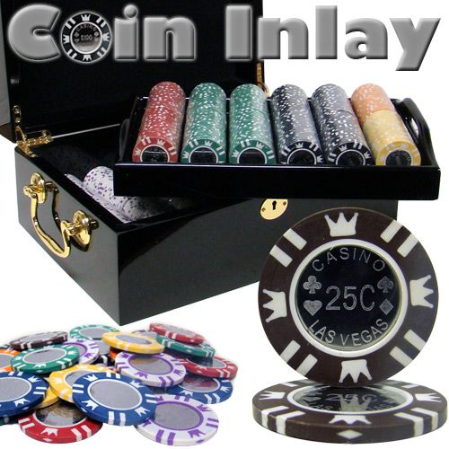 Coin Inlay 15 Gram Clay Poker Chips in Wood Black Mahogany Case - 500 Ct.