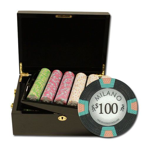 Milano 10 Gram Clay Poker Chips in Wood Black Mahogany Case - 500 Ct.