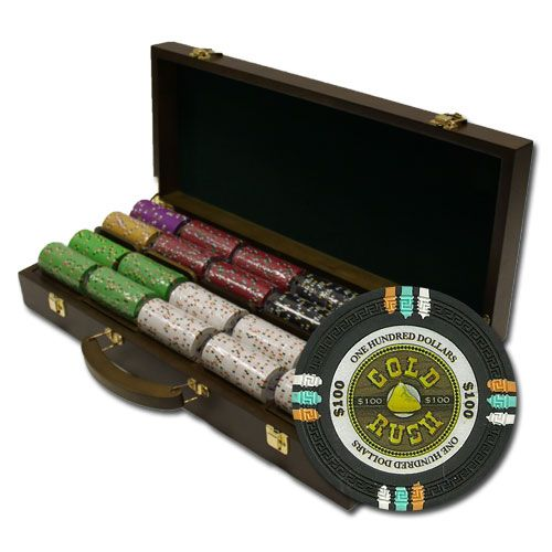 Gold Rush 13.5 Gram Clay Poker Chips in Wood Walnut Case - 500 Ct.