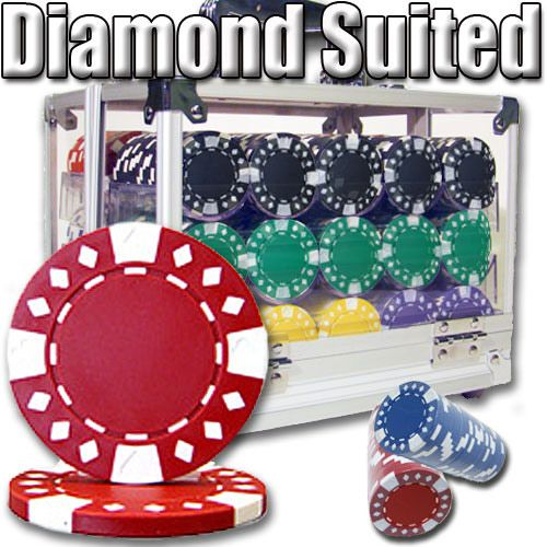 Diamond Suited 12.5 Gram ABS Poker Chips in Acrylic Carrier - 600 Ct.