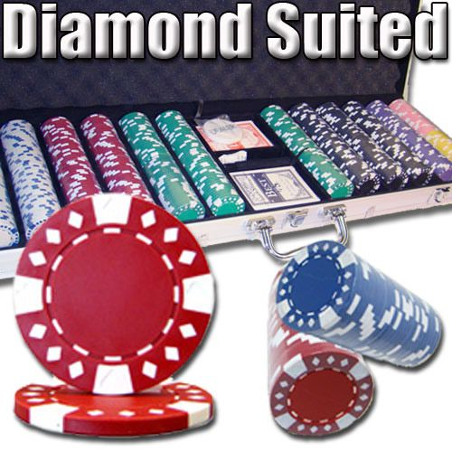 Diamond Suited 12.5 Gram ABS Poker Chips in Aluminum Case - 600 Ct.