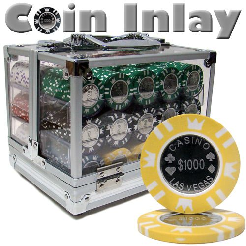 Coin Inlay 15 Gram Clay Poker Chips in Acrylic Carrier - 600 Ct.