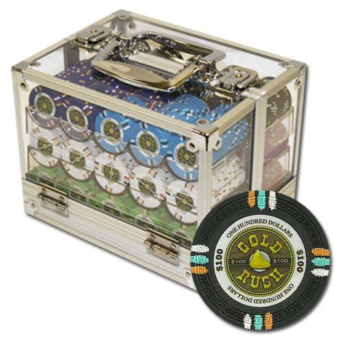 Gold Rush 13.5 Gram Clay Poker Chips in Acrylic Carrier - 600 Ct.